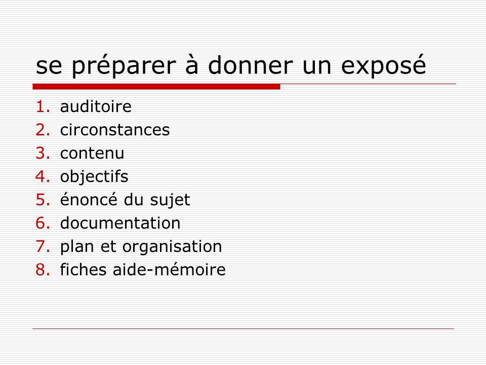 se préparer à donner un exposé 1.auditoire 2.circonstances 3.contenu 4.objectifs 5.énoncé du sujet 6.documentation 7.plan et organisation 8.fiches aid