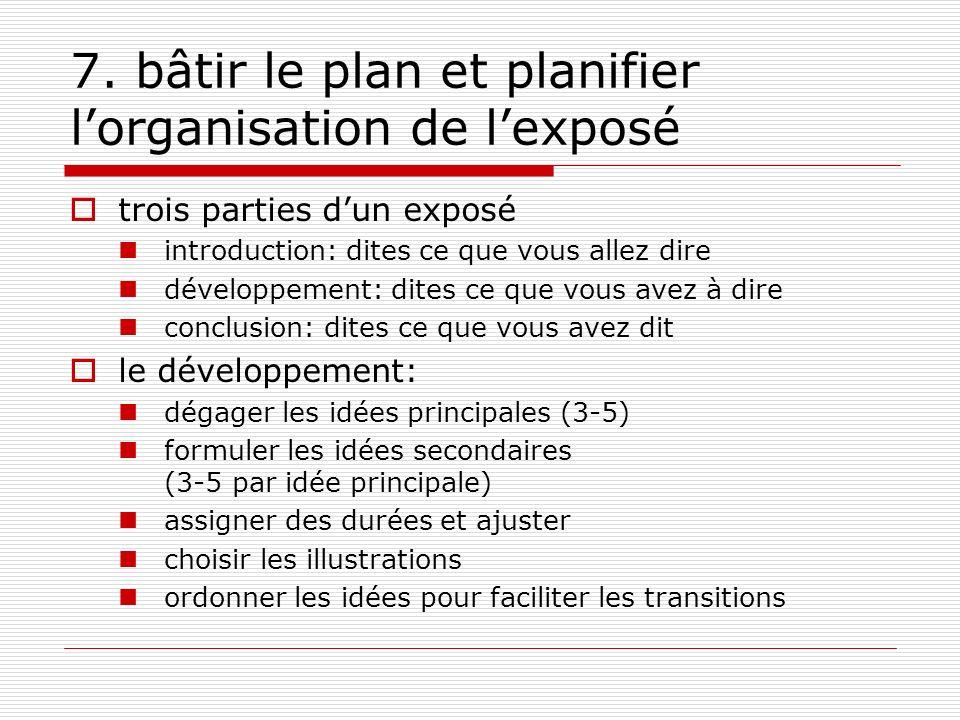 7. bâtir le plan et planifier lorganisation de lexposé trois parties dun exposé introduction: dites ce que vous allez dire développement: dites ce que