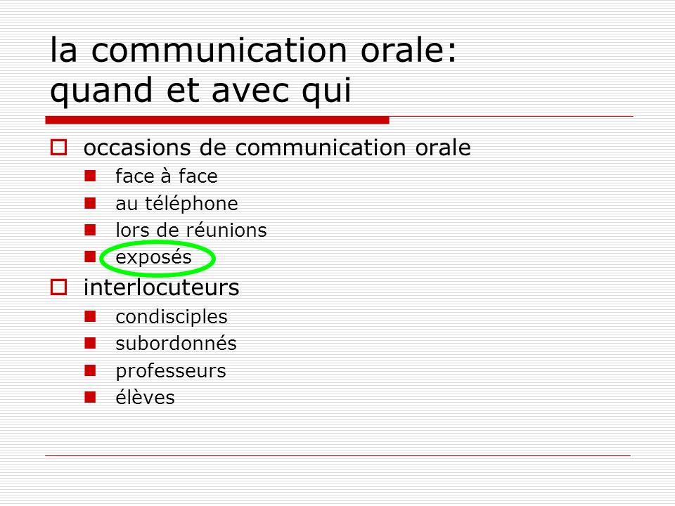 la communication orale: quand et avec qui occasions de communication orale face à face au téléphone lors de réunions exposés interlocuteurs condiscipl