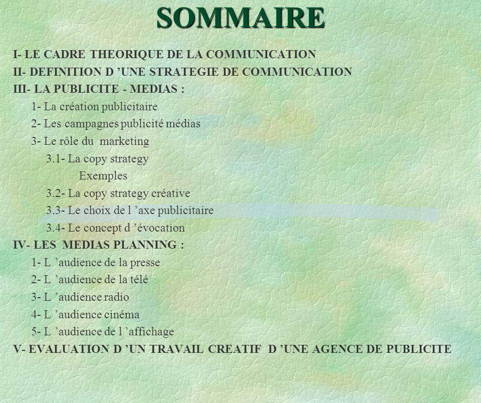 SOMMAIRE I- LE CADRE THEORIQUE DE LA COMMUNICATION II- DEFINITION D UNE STRATEGIE DE COMMUNICATION III- LA PUBLICITE - MEDIAS : 1- La création publici