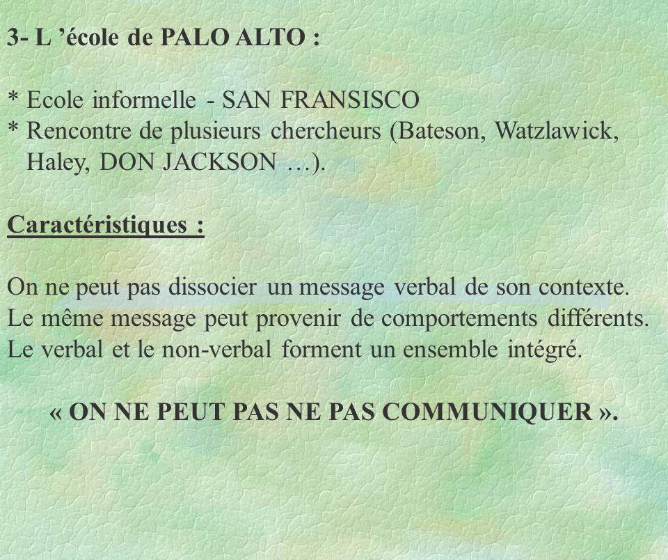 3- L école de PALO ALTO : * Ecole informelle - SAN FRANSISCO * Rencontre de plusieurs chercheurs (Bateson, Watzlawick, Haley, DON JACKSON …). Caractér