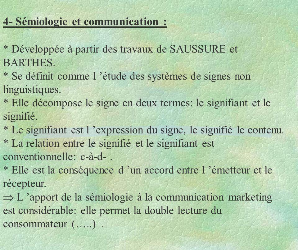 4- Sémiologie et communication : * Développée à partir des travaux de SAUSSURE et BARTHES. * Se définit comme l étude des systèmes de signes non lingu
