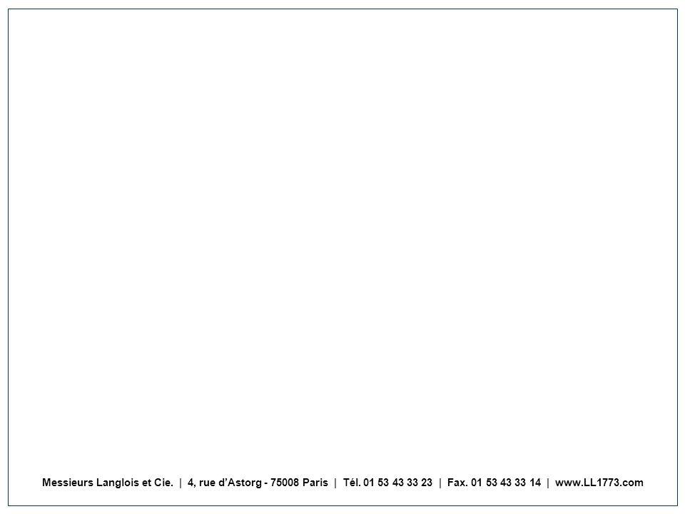 Messieurs Langlois et Cie. | 4, rue dAstorg - 75008 Paris | Tél. 01 53 43 33 23 | Fax. 01 53 43 33 14 | www.LL1773.com