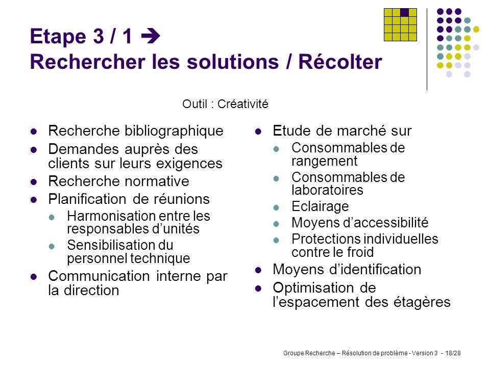 Groupe Recherche – Résolution de problème - Version 3 - 17/28 Etape 2 / 4 Analyser les causes / Valider Outil : Consensus du groupe de travail Compte