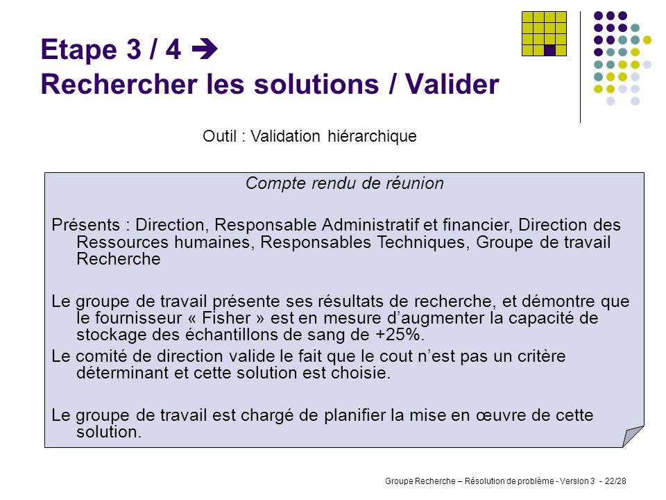 Groupe Recherche – Résolution de problème - Version 3 - 21/28 Etape 3 / 3 Rechercher les solutions / Choisir Outil : Tableau de critères FournisseurCo