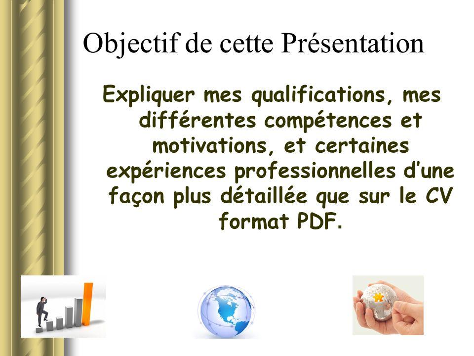 Objectif de cette Présentation Expliquer mes qualifications, mes différentes compétences et motivations, et certaines expériences professionnelles dune façon plus détaillée que sur le CV format PDF.