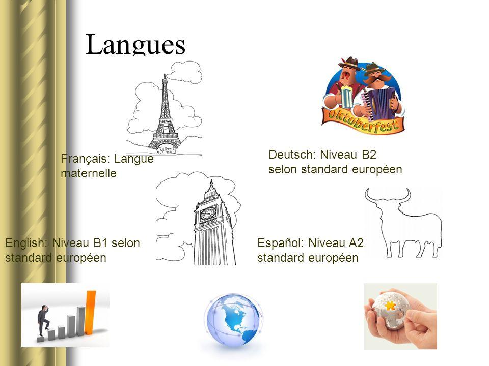 Langues Français: Langue maternelle Deutsch: Niveau B2 selon standard européen English: Niveau B1 selon standard européen Español: Niveau A2 selon standard européen