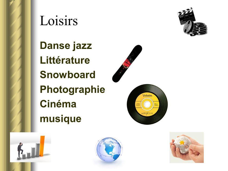 Loisirs Danse jazz Littérature Snowboard Photographie Cinéma musique