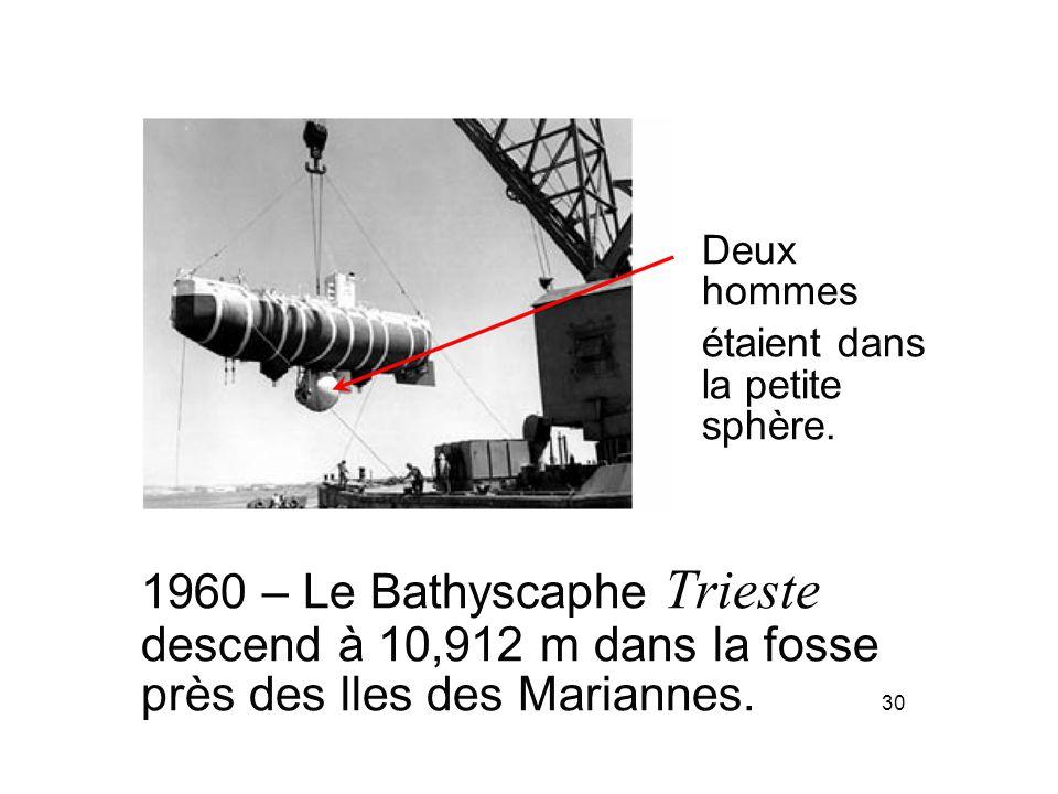 Deux hommes étaient dans la petite sphère. 1960 – Le Bathyscaphe Trieste descend à 10,912 m dans la fosse près des lles des Mariannes. 30