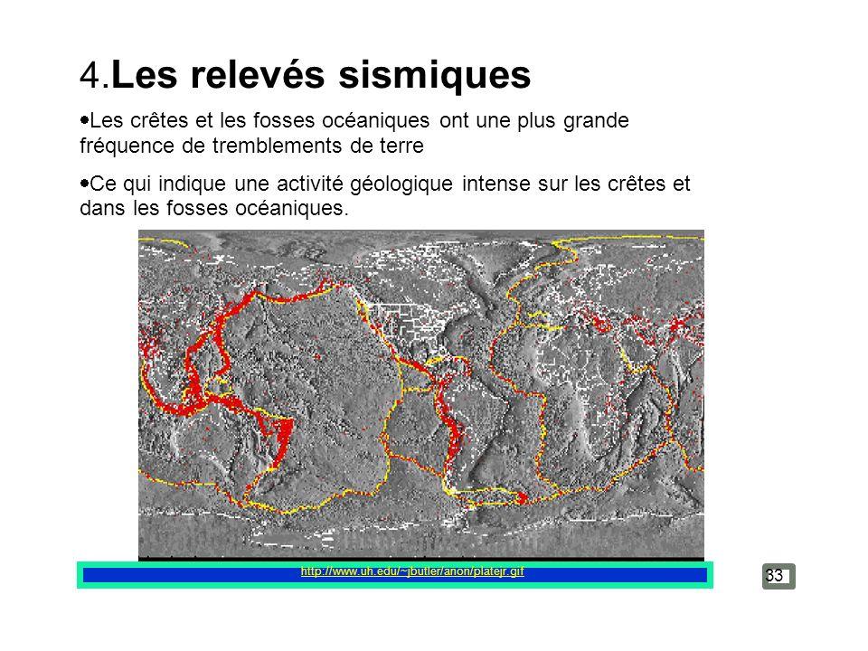 http://www.uh.edu/~jbutler/anon/platejr.gif 33 4. Les relevés sismiques Les crêtes et les fosses océaniques ont une plus grande fréquence de trembleme