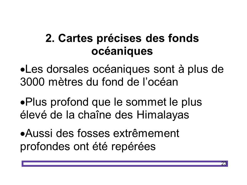 23 2. Cartes précises des fonds océaniques Les dorsales océaniques sont à plus de 3000 mètres du fond de locéan Plus profond que le sommet le plus éle