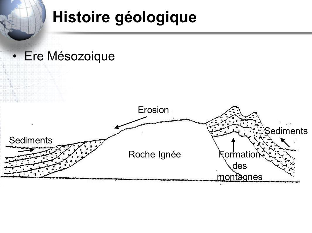 Histoire géologique Ere Mésozoique Erosion Sediments Formation des montagnes Roche Ignée