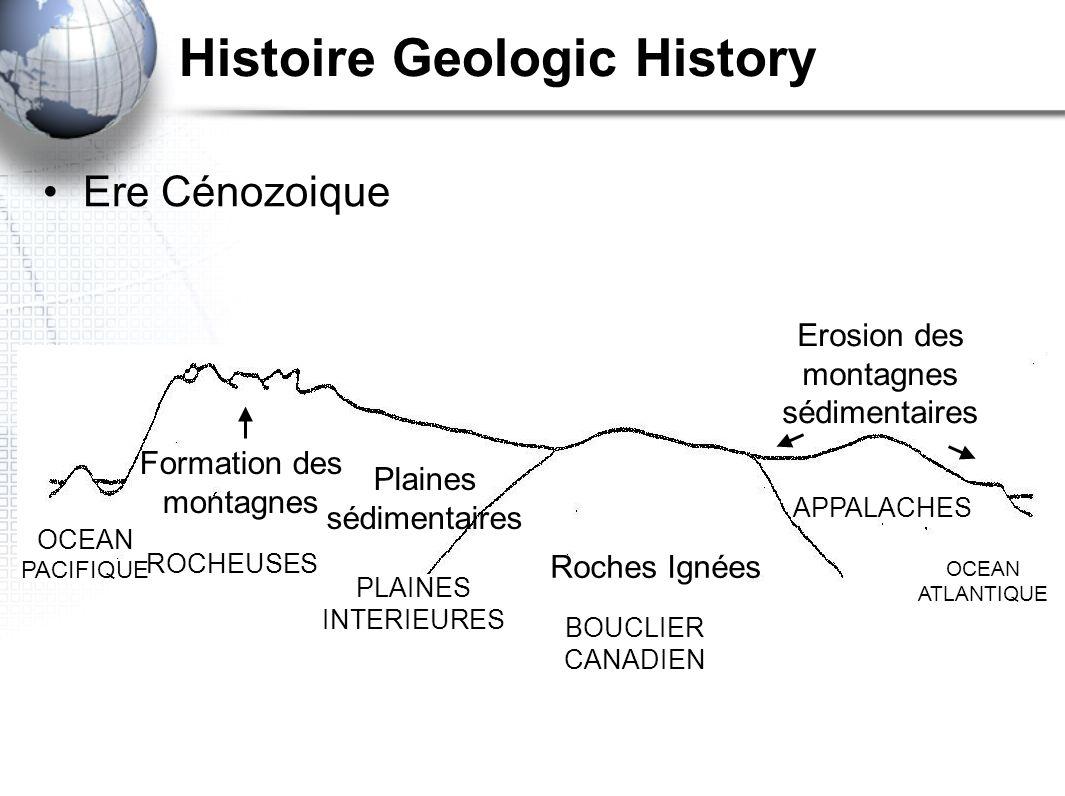 Histoire Geologic History Ere Cénozoique Formation des montagnes Roches Ignées Erosion des montagnes sédimentaires Plaines sédimentaires OCEAN PACIFIQ