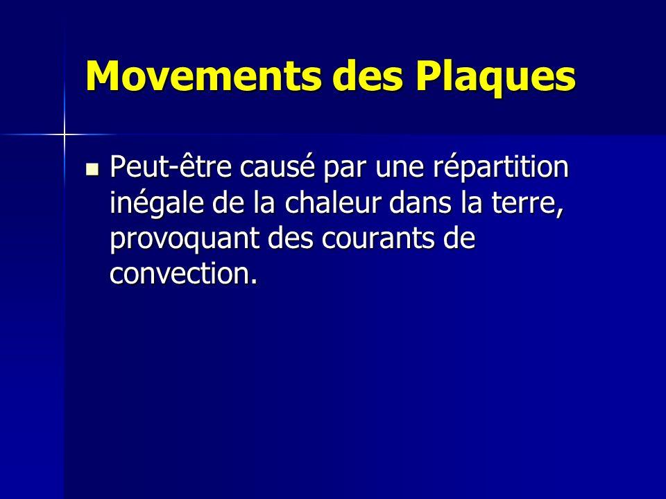 Movements des Plaques Peut-être causé par une répartition inégale de la chaleur dans la terre, provoquant des courants de convection. Peut-être causé