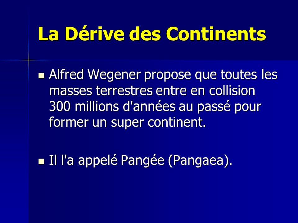 La Dérive des Continents Alfred Wegener propose que toutes les masses terrestres entre en collision 300 millions d'années au passé pour former un supe