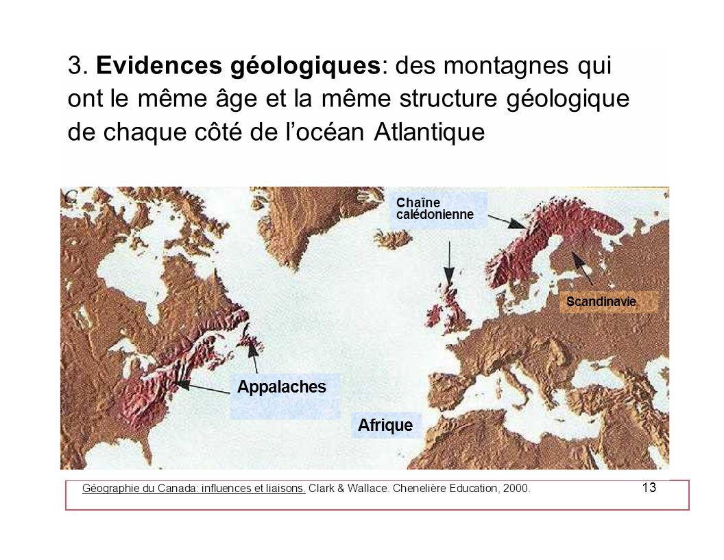 Géographie du Canada: influences et liaisons. Clark & Wallace. Chenelière Education, 2000. 13 3. Evidences géologiques: des montagnes qui ont le même
