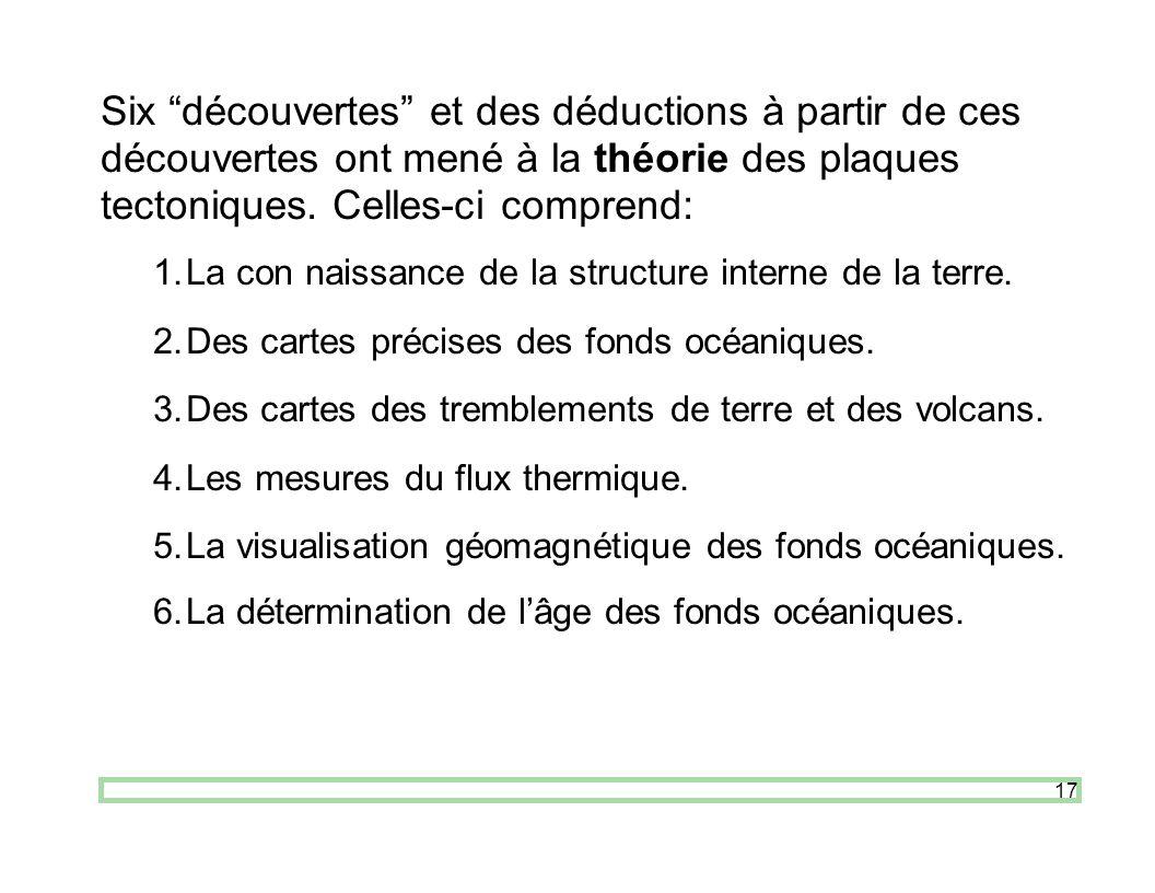 17 Six découvertes et des déductions à partir de ces découvertes ont mené à la théorie des plaques tectoniques. Celles-ci comprend: 1.La con naissance