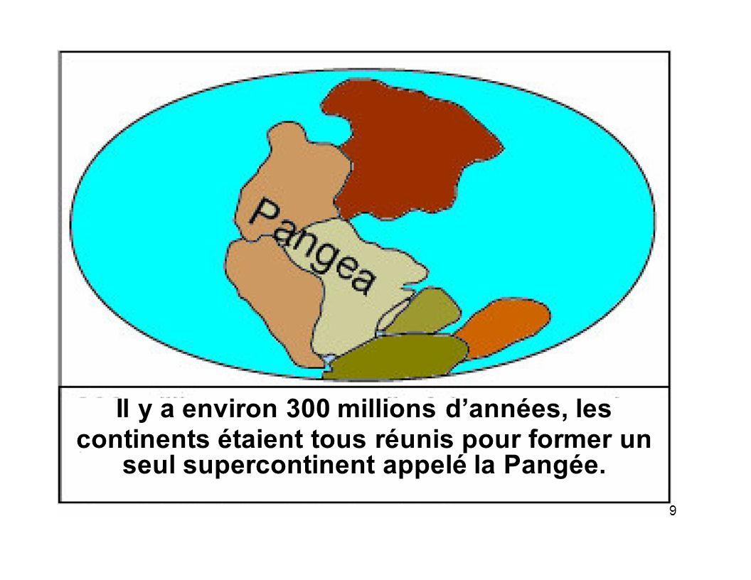 9 Il y a environ 300 millions dannées, les continents étaient tous réunis pour former un seul supercontinent appelé la Pangée.