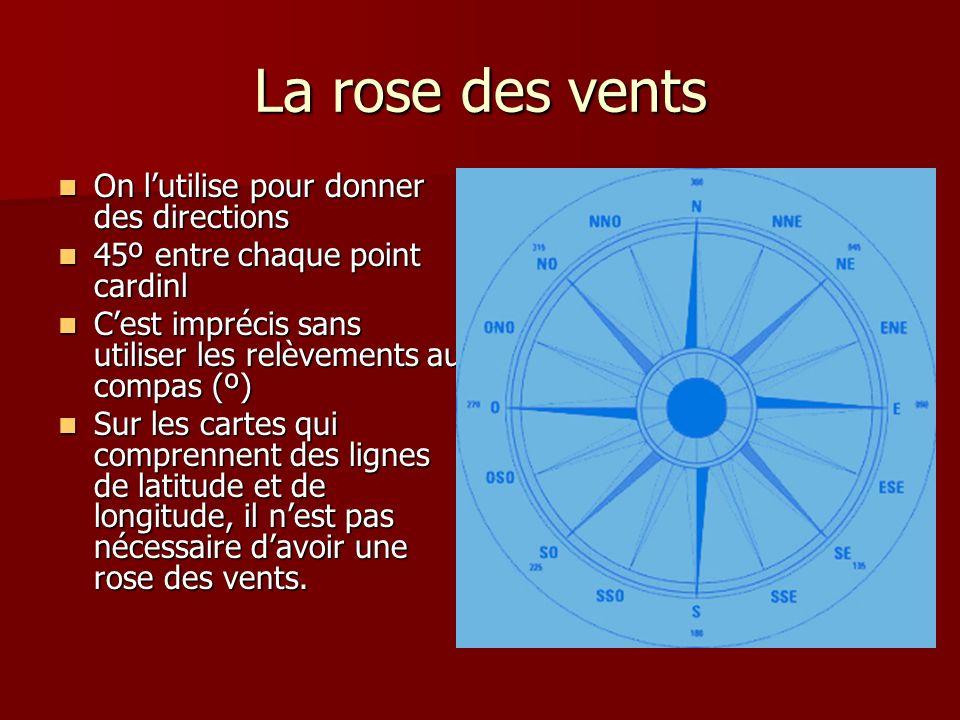 La rose des vents On lutilise pour donner des directions On lutilise pour donner des directions 45º entre chaque point cardinl 45º entre chaque point