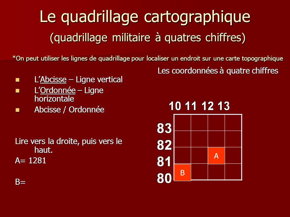 Le quadrillage cartographique (quadrillage militaire à quatres chiffres) *On peut utiliser les lignes de quadrillage pour localiser un endroit sur une