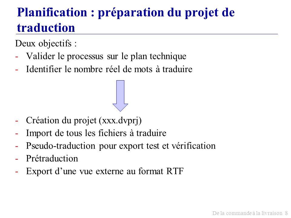 De la commande à la livraison 8 Planification : préparation du projet de traduction Deux objectifs : -Valider le processus sur le plan technique -Iden
