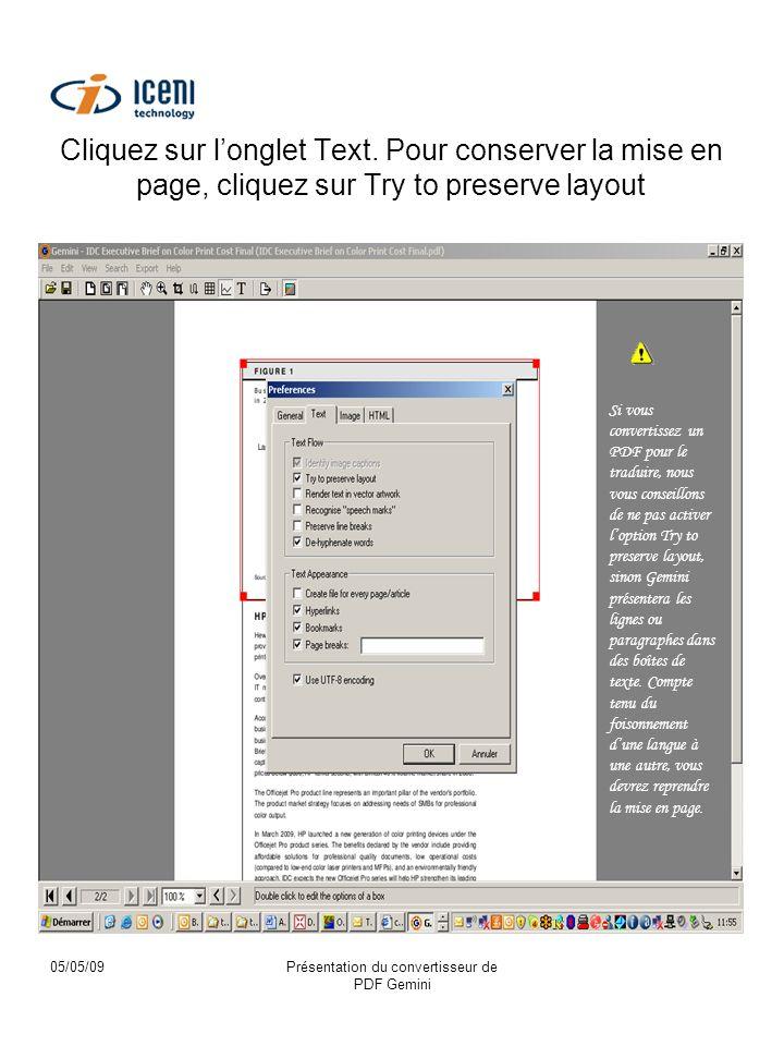 05/05/09Présentation du convertisseur de PDF Gemini Cliquez sur longlet Text.