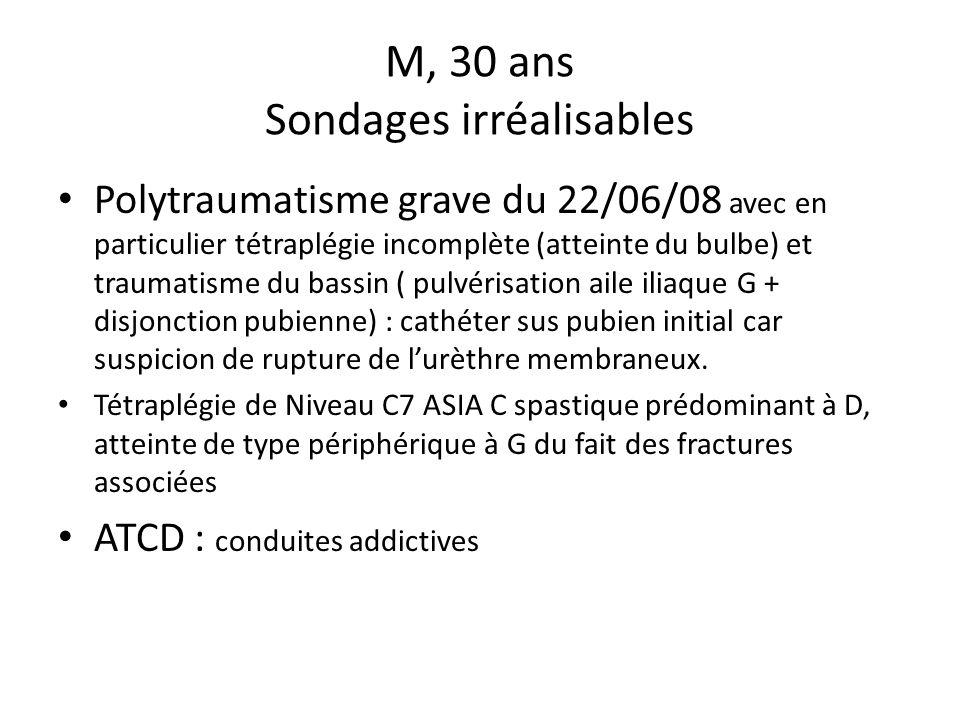 M, 30 ans Sondages irréalisables Polytraumatisme grave du 22/06/08 avec en particulier tétraplégie incomplète (atteinte du bulbe) et traumatisme du ba