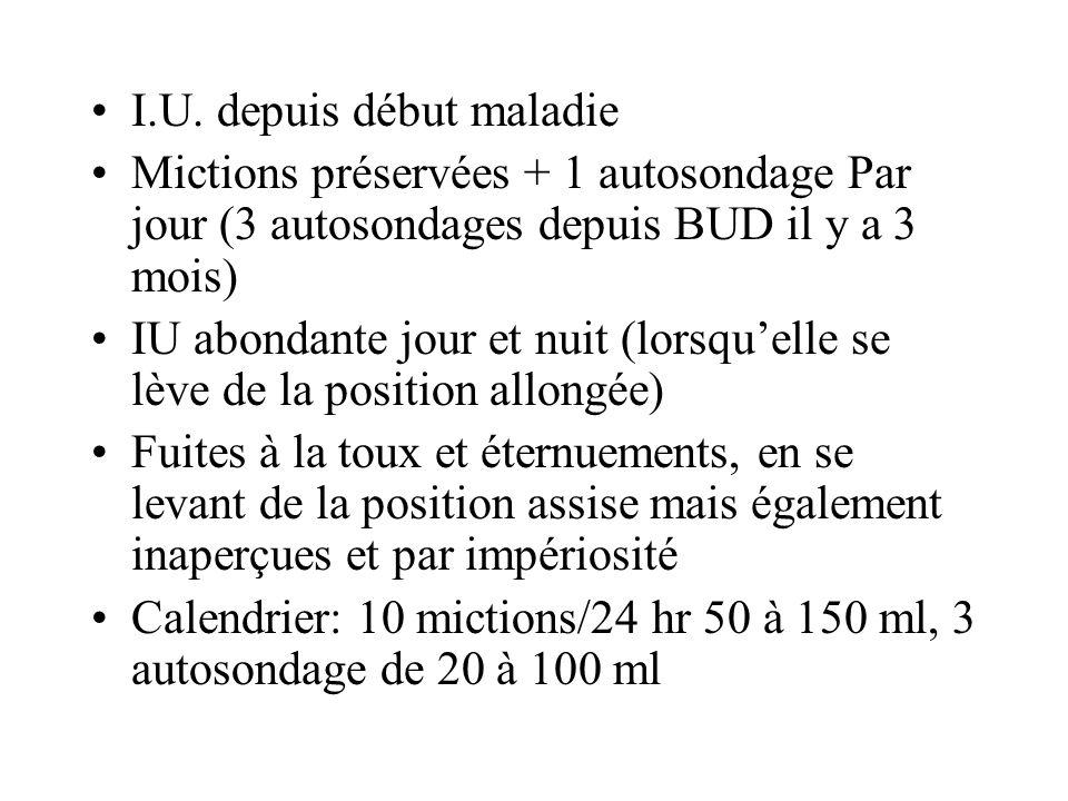 I.U. depuis début maladie Mictions préservées + 1 autosondage Par jour (3 autosondages depuis BUD il y a 3 mois) IU abondante jour et nuit (lorsquelle