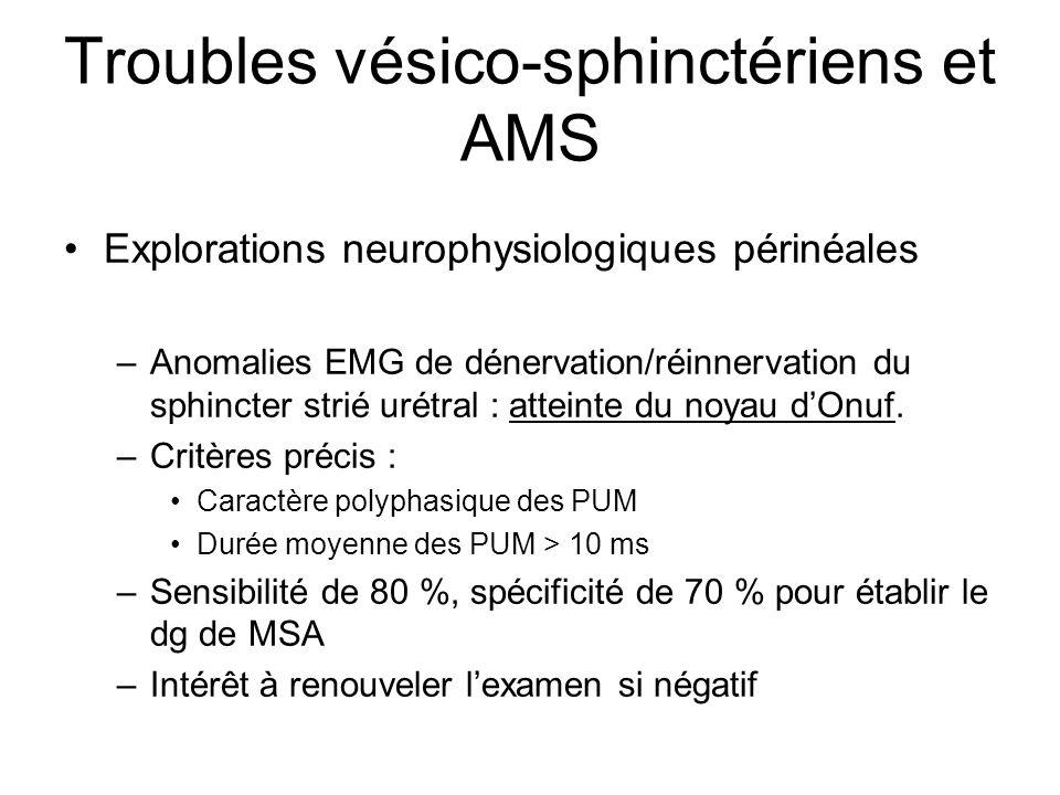 Explorations neurophysiologiques périnéales –Anomalies EMG de dénervation/réinnervation du sphincter strié urétral : atteinte du noyau dOnuf. –Critère