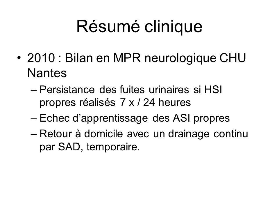 Résumé clinique 2010 : Bilan en MPR neurologique CHU Nantes –Persistance des fuites urinaires si HSI propres réalisés 7 x / 24 heures –Echec dapprenti