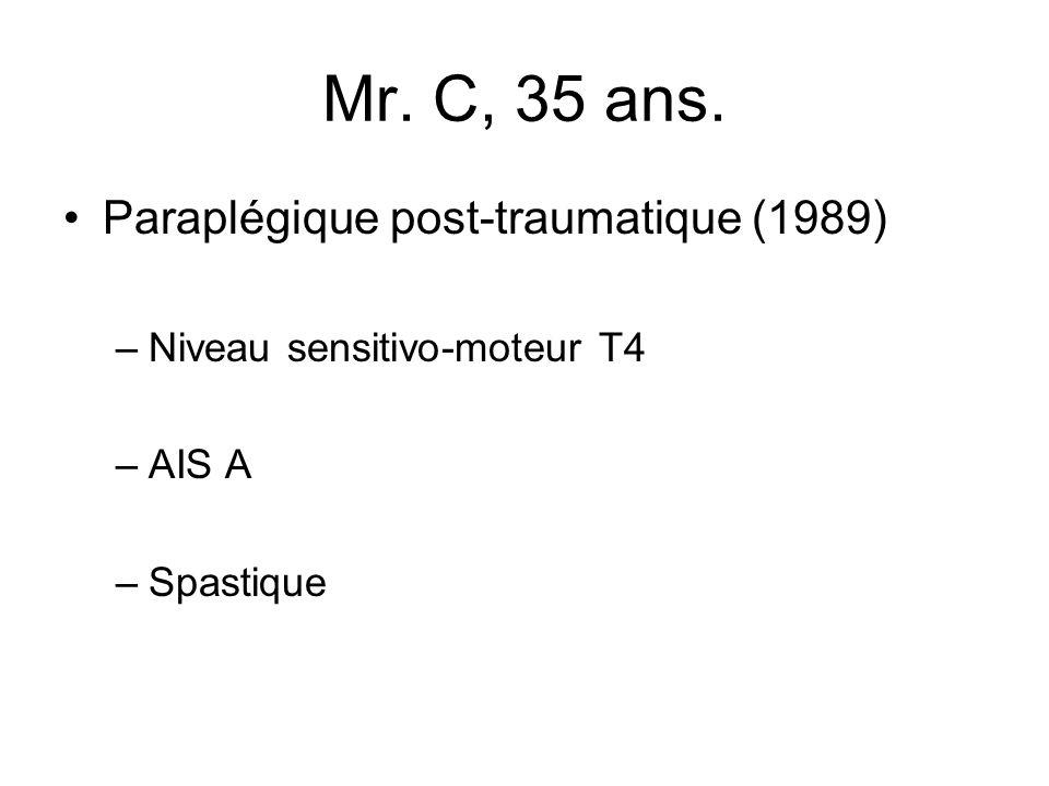 Mr. C, 35 ans. Paraplégique post-traumatique (1989) –Niveau sensitivo-moteur T4 –AIS A –Spastique