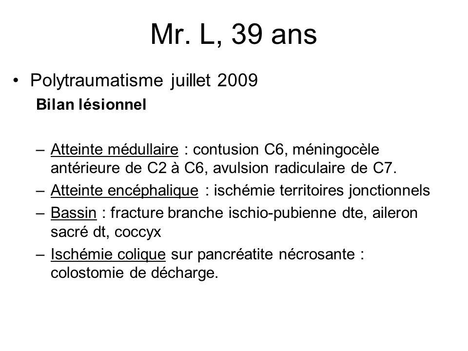 Mr. L, 39 ans Polytraumatisme juillet 2009 Bilan lésionnel –Atteinte médullaire : contusion C6, méningocèle antérieure de C2 à C6, avulsion radiculair