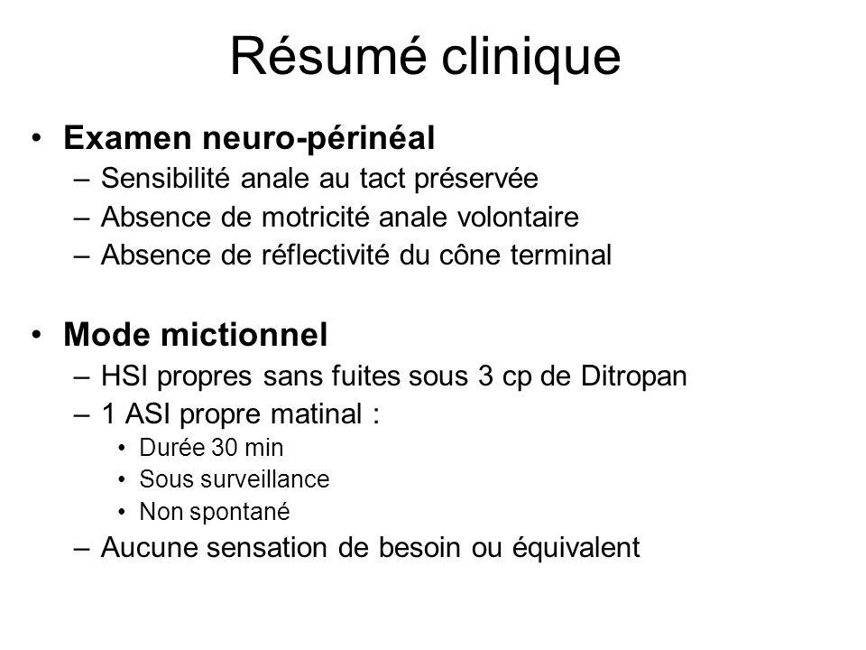 Résumé clinique Examen neuro-périnéal –Sensibilité anale au tact préservée –Absence de motricité anale volontaire –Absence de réflectivité du cône ter