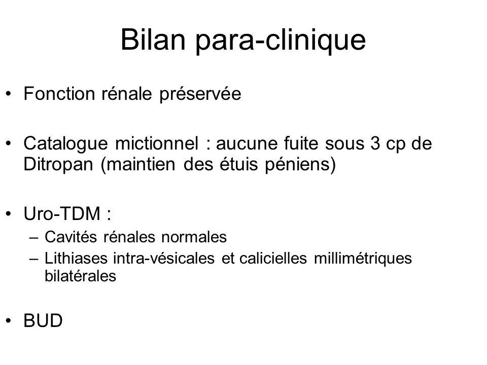 Bilan para-clinique Fonction rénale préservée Catalogue mictionnel : aucune fuite sous 3 cp de Ditropan (maintien des étuis péniens) Uro-TDM : –Cavité