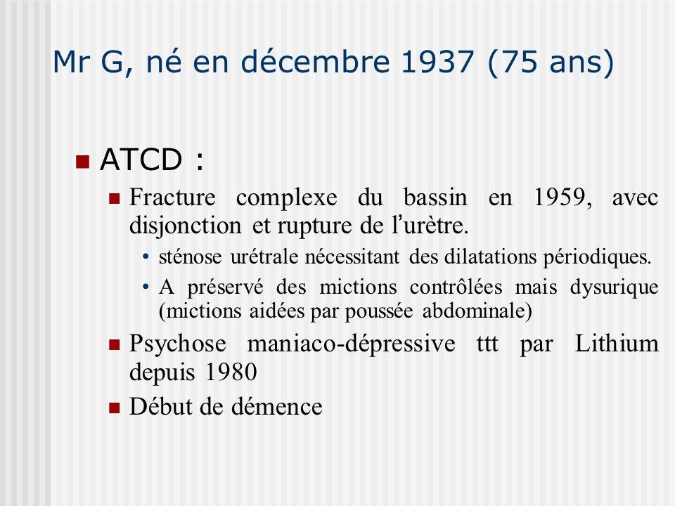 Mr G, né en décembre 1937 (75 ans) ATCD : Fracture complexe du bassin en 1959, avec disjonction et rupture de l urètre. sténose urétrale nécessitant d