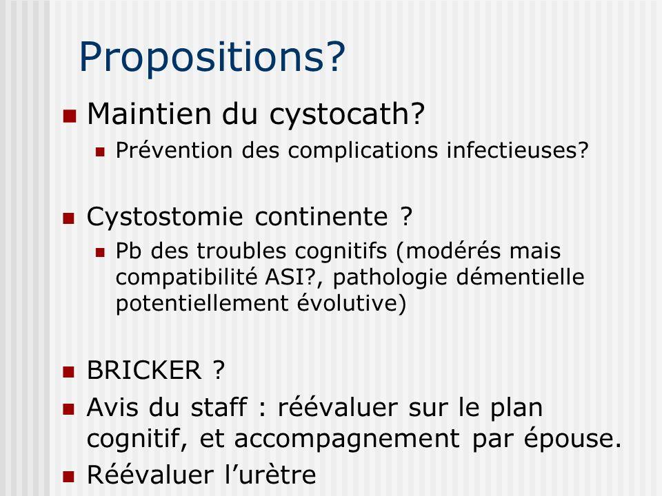 Propositions? Maintien du cystocath? Prévention des complications infectieuses? Cystostomie continente ? Pb des troubles cognitifs (modérés mais compa