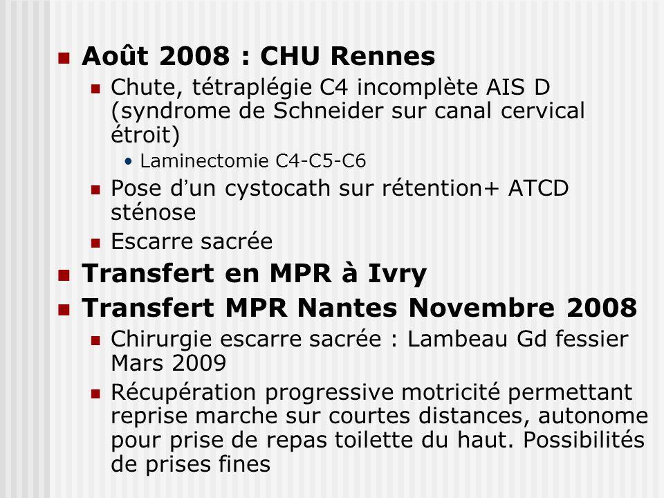 Août 2008 : CHU Rennes Chute, tétraplégie C4 incomplète AIS D (syndrome de Schneider sur canal cervical étroit) Laminectomie C4-C5-C6 Pose d un cystoc