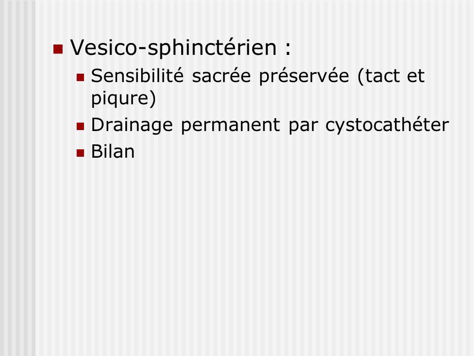 Vesico-sphinctérien : Sensibilité sacrée préservée (tact et piqure) Drainage permanent par cystocathéter Bilan