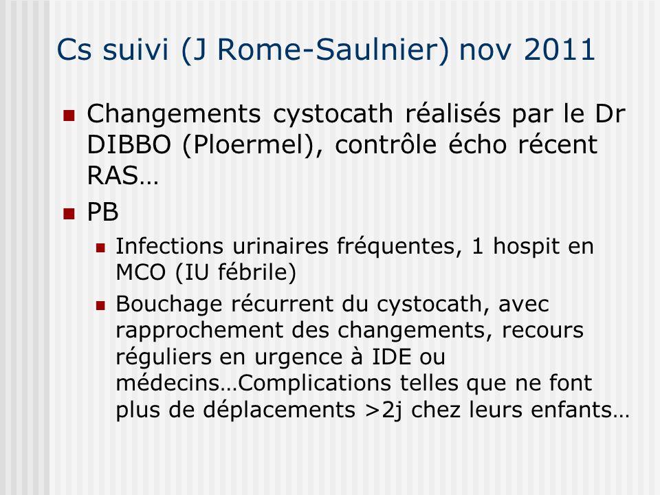 Cs suivi (J Rome-Saulnier) nov 2011 Changements cystocath réalisés par le Dr DIBBO (Ploermel), contrôle écho récent RAS… PB Infections urinaires fréqu