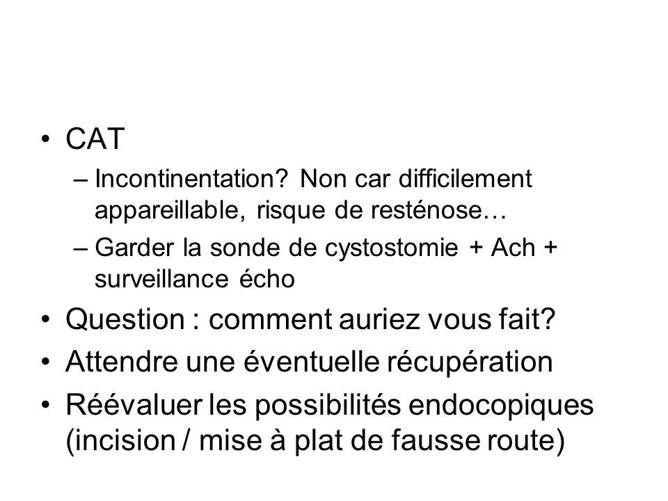 CAT –Incontinentation? Non car difficilement appareillable, risque de resténose… –Garder la sonde de cystostomie + Ach + surveillance écho Question :