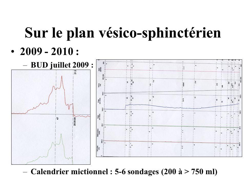 Sur le plan vésico-sphinctérien 2009 - 2010 : –BUD juillet 2009 : –Calendrier mictionnel : 5-6 sondages (200 à > 750 ml)