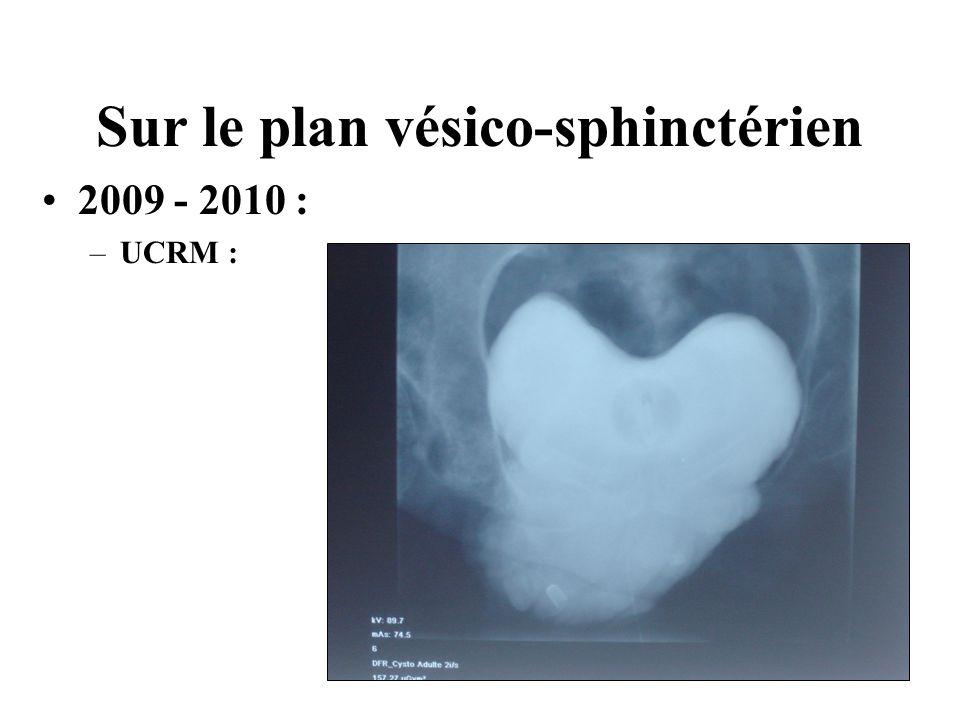 Sur le plan vésico-sphinctérien 2009 - 2010 : –UCRM :