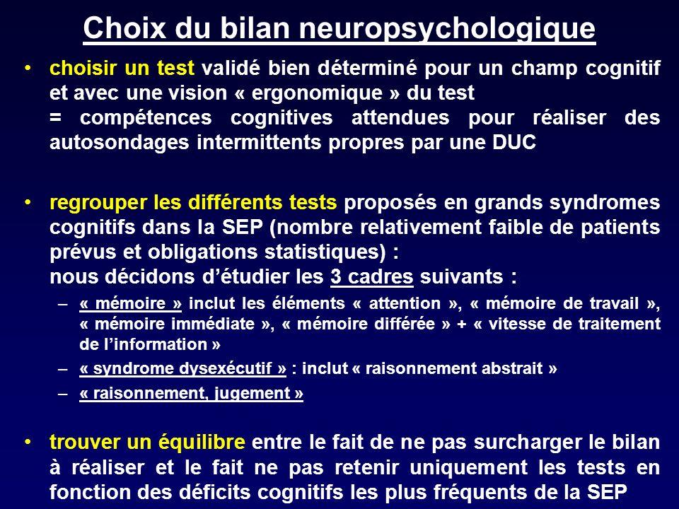 Choix du bilan neuropsychologique choisir un test validé bien déterminé pour un champ cognitif et avec une vision « ergonomique » du test = compétence