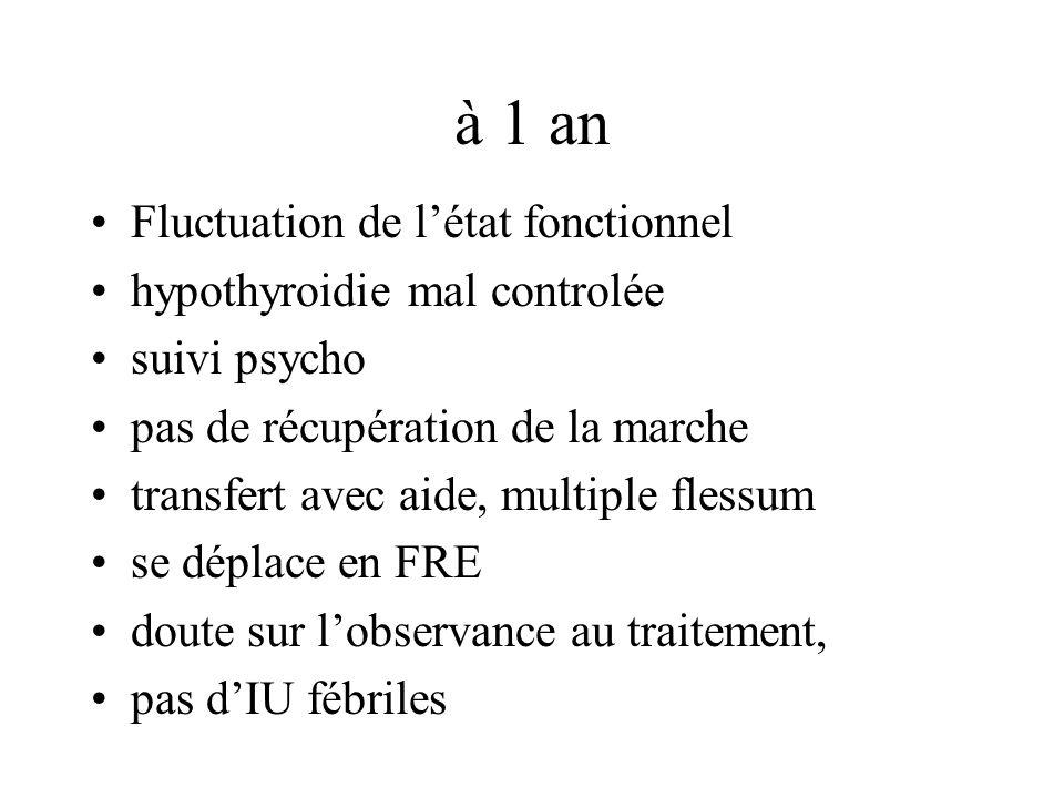 à 1 an Fluctuation de létat fonctionnel hypothyroidie mal controlée suivi psycho pas de récupération de la marche transfert avec aide, multiple flessum se déplace en FRE doute sur lobservance au traitement, pas dIU fébriles
