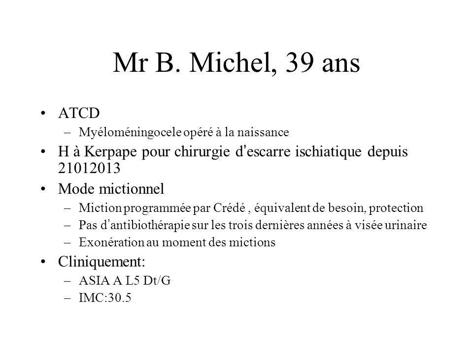 Mr B. Michel, 39 ans ATCD –Myéloméningocele opéré à la naissance H à Kerpape pour chirurgie d escarre ischiatique depuis 21012013 Mode mictionnel –Mic