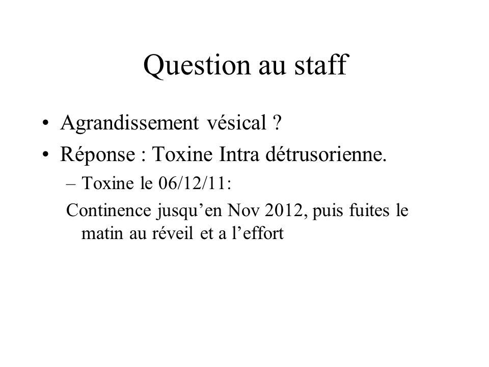 Question au staff Agrandissement vésical .Réponse : Toxine Intra détrusorienne.