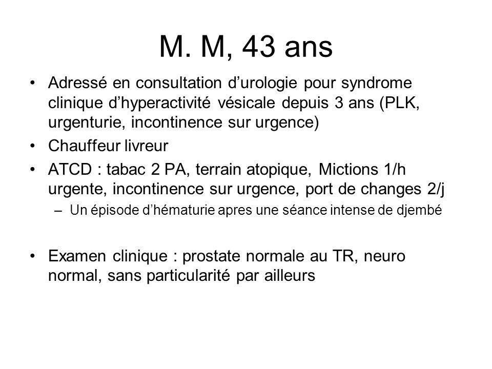 M. M, 43 ans Adressé en consultation durologie pour syndrome clinique dhyperactivité vésicale depuis 3 ans (PLK, urgenturie, incontinence sur urgence)