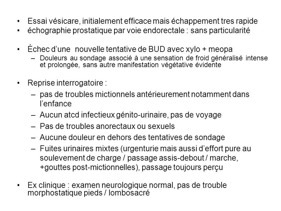 Essai vésicare, initialement efficace mais échappement tres rapide échographie prostatique par voie endorectale : sans particularité Échec dune nouvel