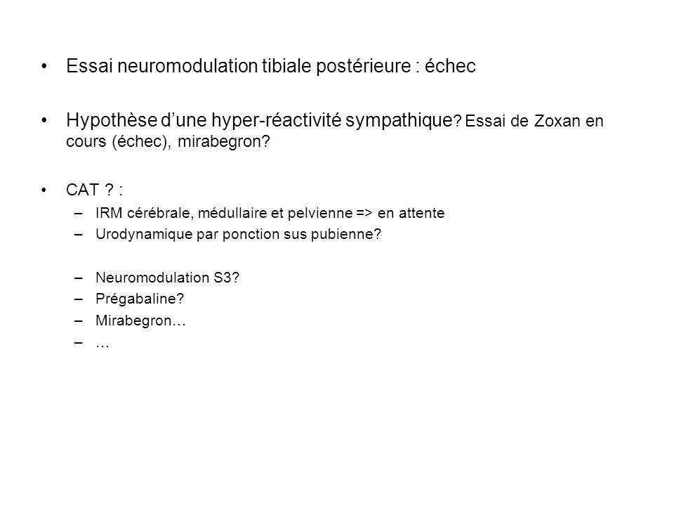 Essai neuromodulation tibiale postérieure : échec Hypothèse dune hyper-réactivité sympathique ? Essai de Zoxan en cours (échec), mirabegron? CAT ? : –
