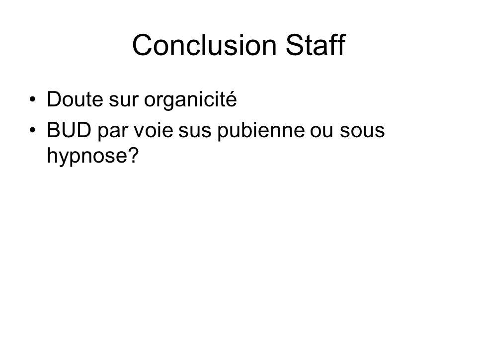 Conclusion Staff Doute sur organicité BUD par voie sus pubienne ou sous hypnose?